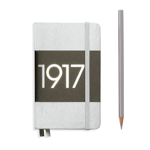 Notebook Pocket (A6), Hardcover, 187 numbered pages, Silver, plain