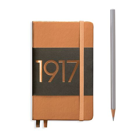 Notebook Pocket (A6), Hardcover, 187 numbered pages, Copper, plain