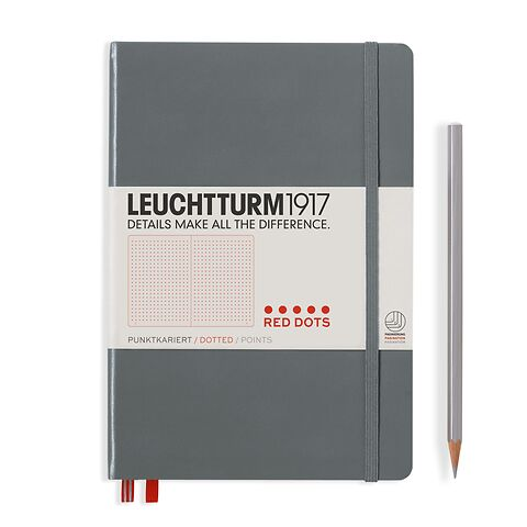 Notebook Medium (A5), Red Dots, Hardcover, 251 numbered pages, Anthracite, dotted