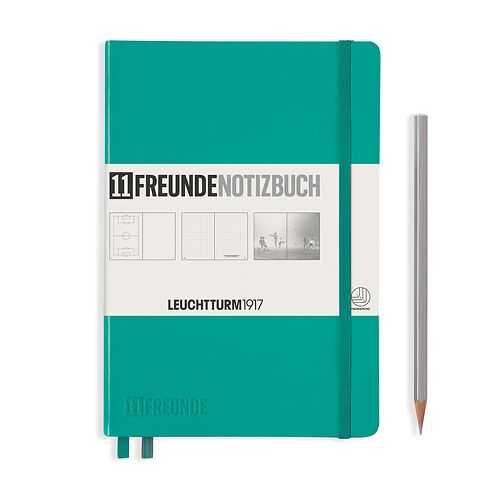 Notebook Medium (A5), 11FREUNDE, Hardcover, 253 numbered pages, Emerald, plain/dotted