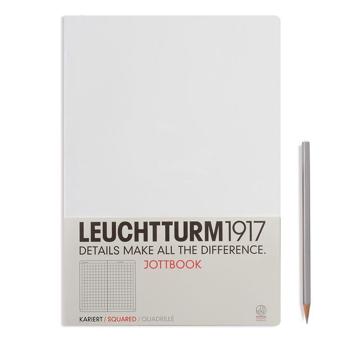 Jottbook Master (A4), 60 numbered pages, 16 perforated pages, White, squared