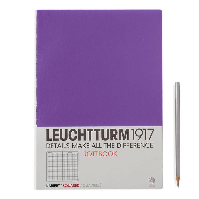 Jottbook Master (A4), 60 numbered pages, 16 perforated pages, Lavender, squared