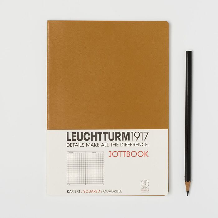Jottbook Medium (A5), 60 numbered pages, 16 perforated pages, Caramel, squared