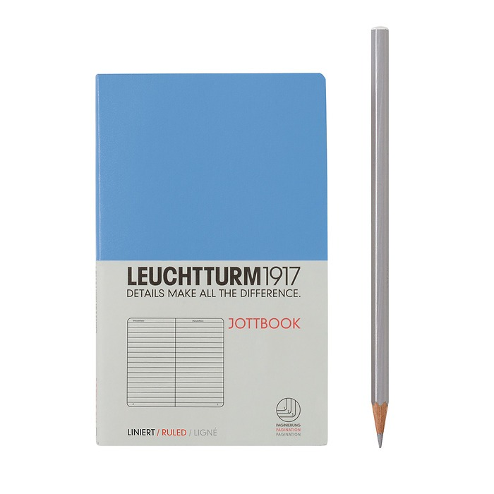 Jottbook Pocket (A6) 60 squared pages, 16 pages perforated, ruled, cornflower