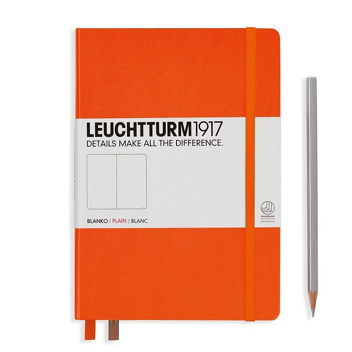 Notebook Medium (A5), Hardcover, 251 numbered pages, Orange, plain