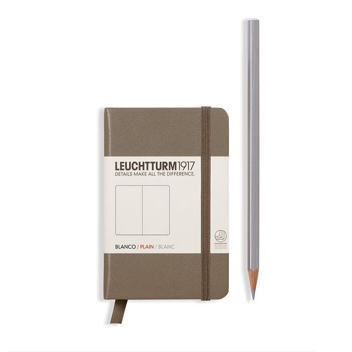 Notebook Mini (A7), Hardcover, 169 numbered pages, Taupe, plain