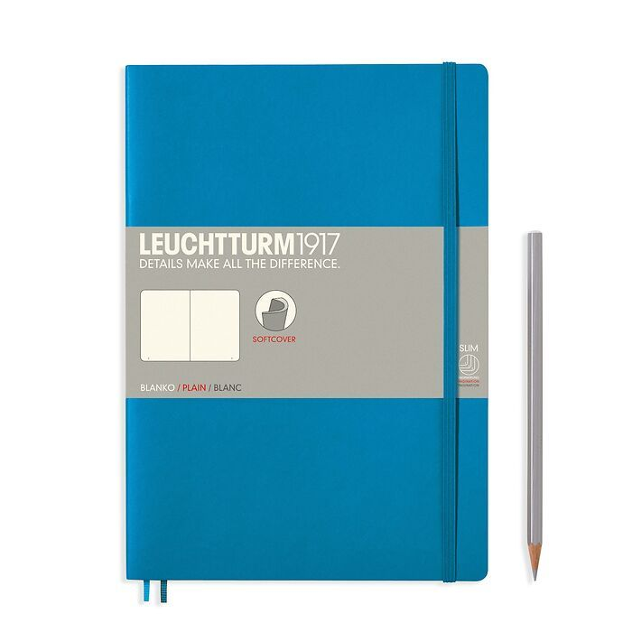 Notebook Composition (B5), Softcover, 123 numbered pages, Azure, plain