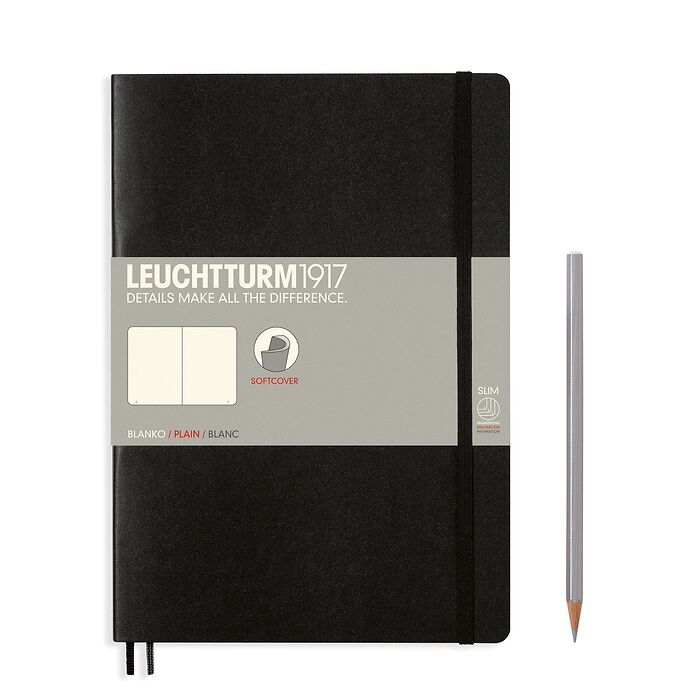 Notebook Composition (B5), Softcover, 123 numbered pages, Black, plain