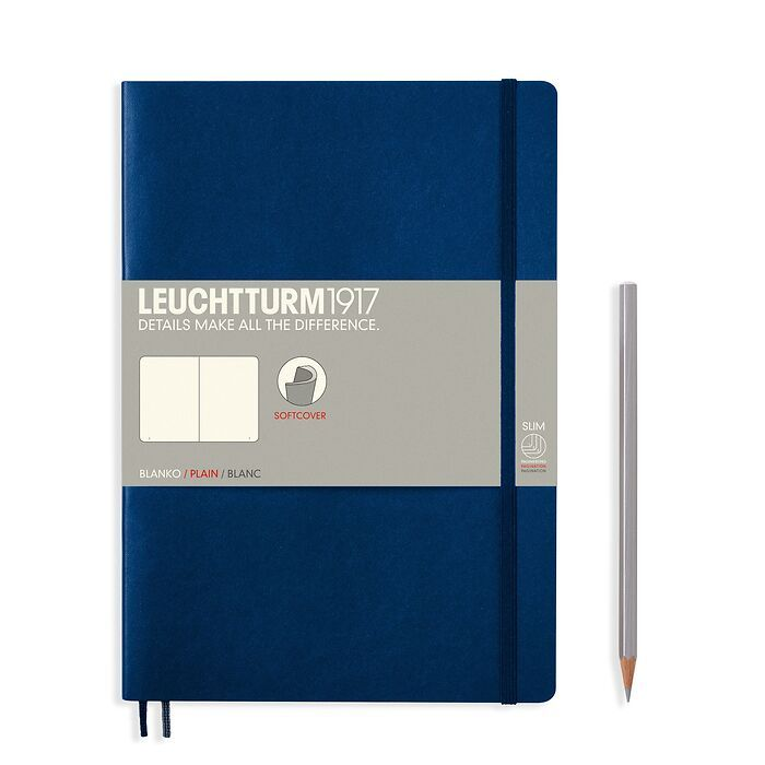 Notebook Composition (B5), Softcover, 123 numbered pages, Navy, plain