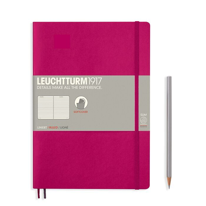 Notebook Composition (B5), Softcover, 123 numbered pages, Berry, ruled