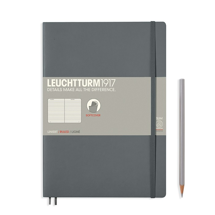 Notebook Composition (B5), Softcover, 123 numbered pages, Anthracite, ruled