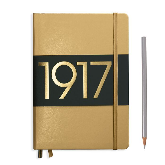 Notebook Medium (A5), Hardcover, 251 numbered pages, Gold, ruled