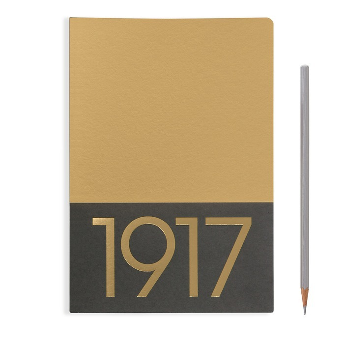 Jottbook Medium (A5), 60 numbered pages, plain, Gold, pack of 2