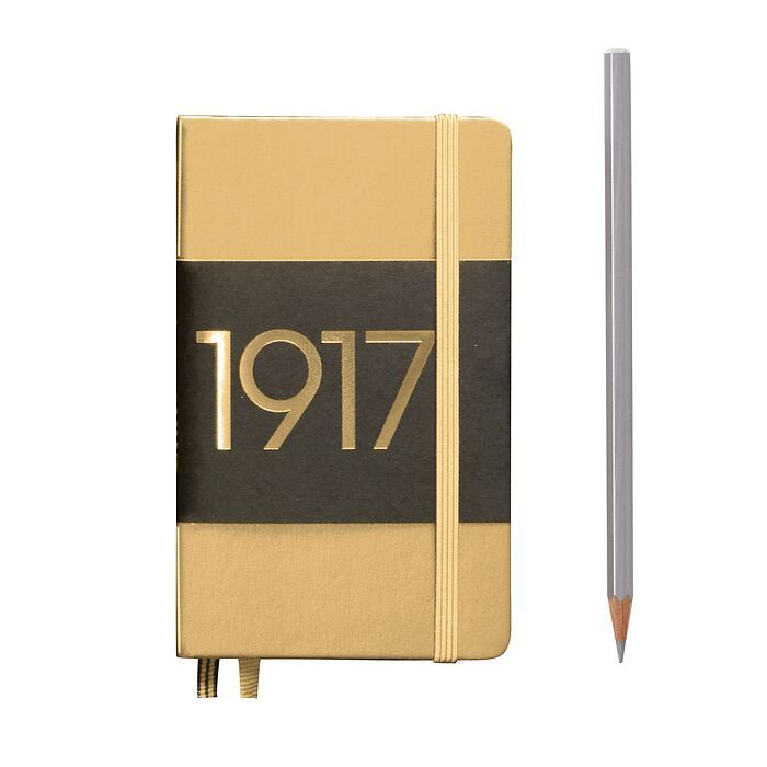 Notebook Pocket (A6), Hardcover, 187 numbered pages, Gold, dotted