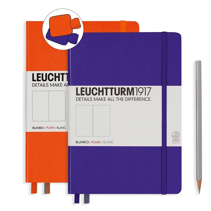 Notebook Set Medium Purple plain and Medium Orange plain