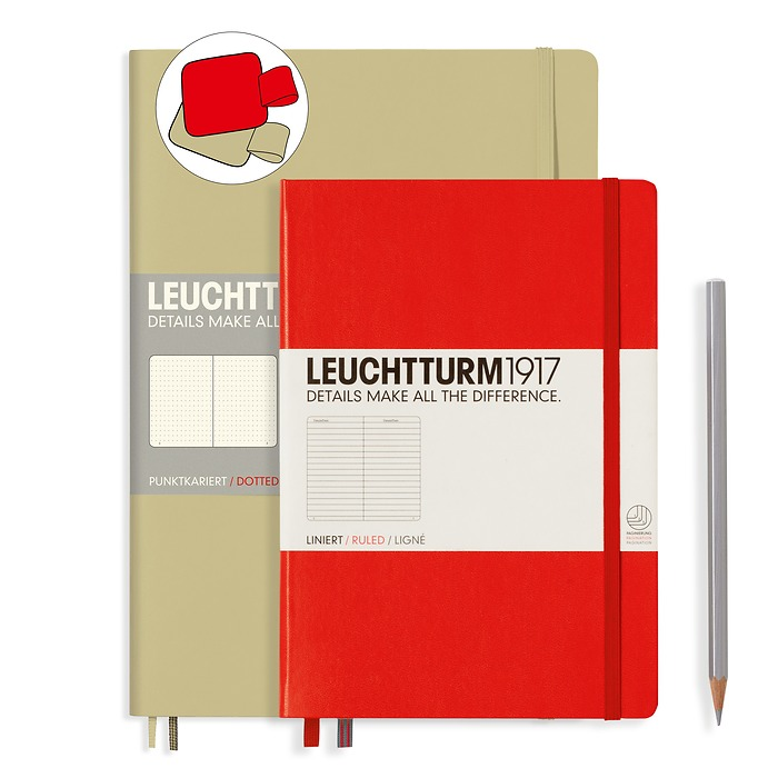 Notebook Set Composition Sand dotted and Medium Red ruled