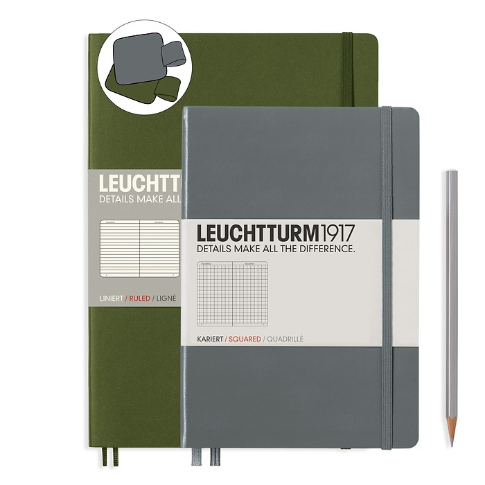 Notebook Set Composition Army ruled and Medium Anthracite squared