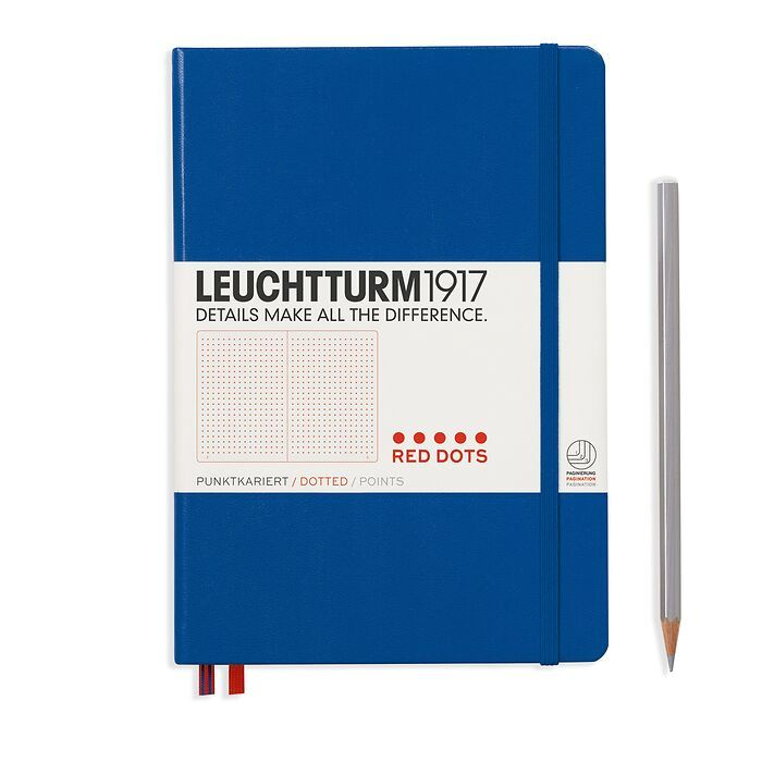Notebook Medium (A5), Red Dots, Hardcover, 251 numbered pages, Royal Blue, dotted