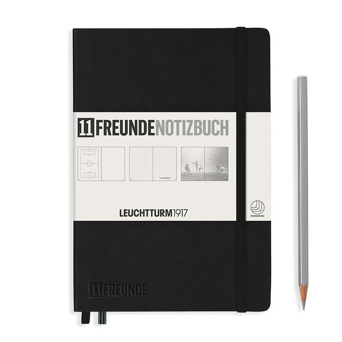 Notebook Medium (A5), 11FREUNDE, Hardcover, 253 numbered pages, Black, plain/dotted