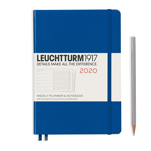 Weekly Planner & Notebook Medium (A5) 2020, Royal Blue, English