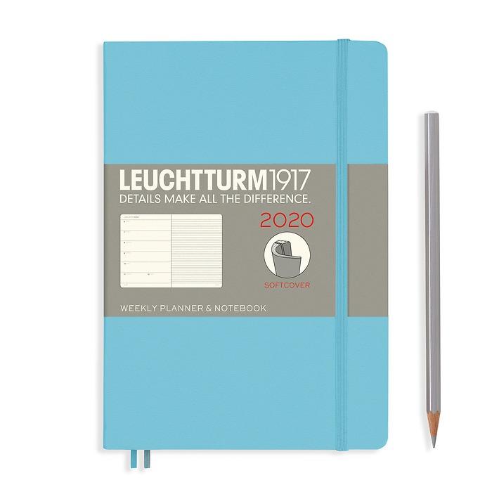 Weekly Planner & Notebook Medium (A5) 2020, Softcover, Ice Blue, English