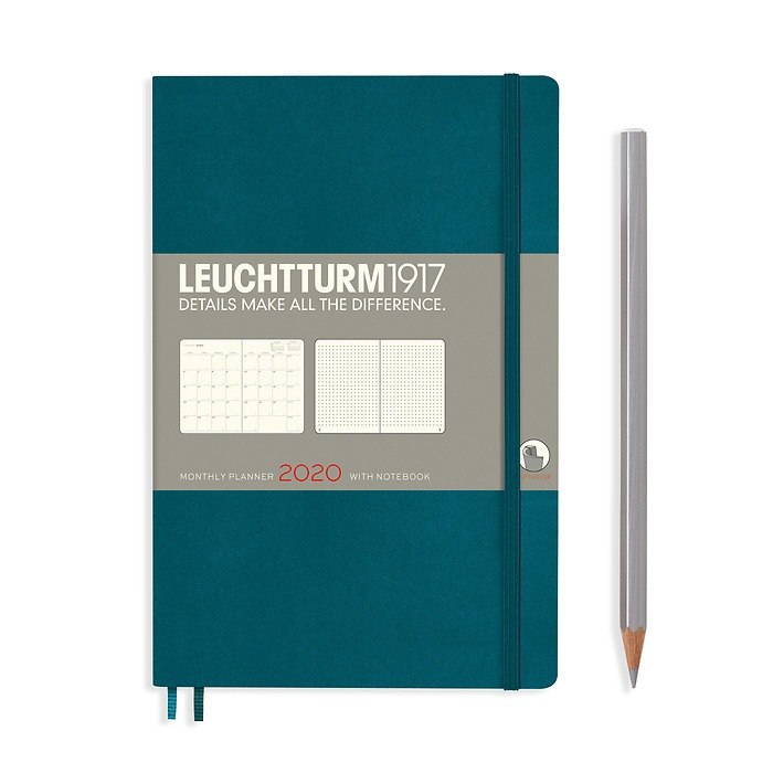 Monthly Planner & Notebook Paperback (B6+) 2020, 16 Months, Softcover, Pacific, English