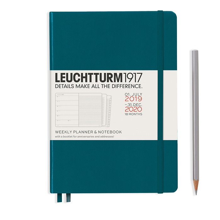 Weekly Planner & Notebook Medium (A5) 2020, with booklet, 18 months, Pacific Green, Englis