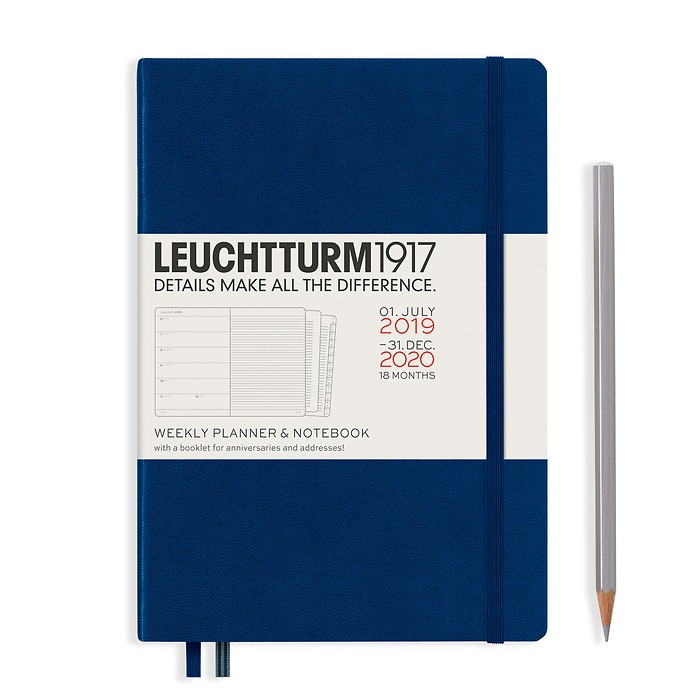 Weekly Planner & Notebook Medium (A5) 2020, with booklet, 18 months, Navy, English