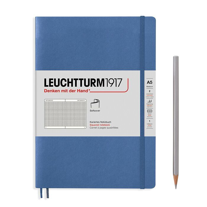 Notebook Medium (A5), Softcover, 123 numbered pages, Denim,  squared