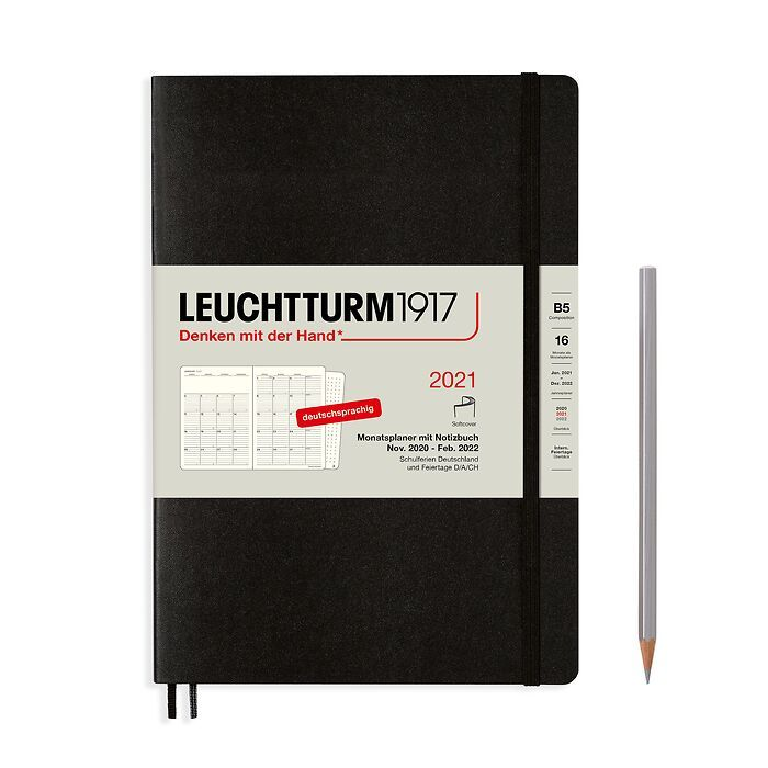 Monthly Planner & Notebook Composition (B5) 2021, Softcover, Black, German