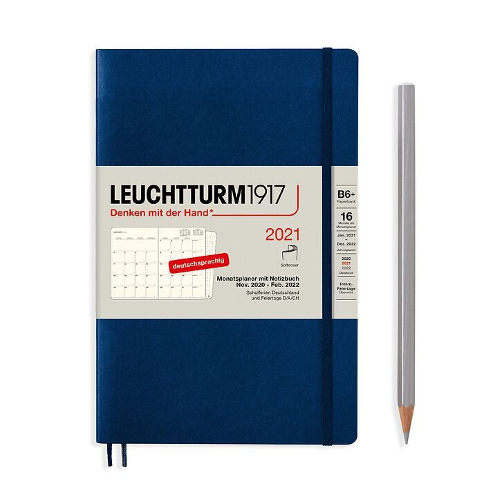 Monthly Planner & Notebook Paperback (B6+) 2021, 16 Months,  Softcover, Navy, German