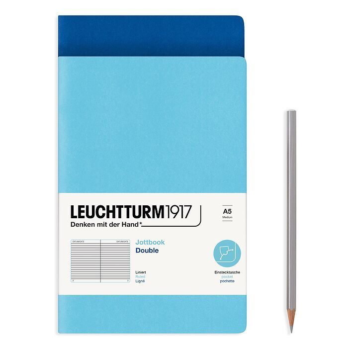 Jottbook (A5), 59 numbered pages, ruled, Royal Blue and Ice Blue, Pack of 2
