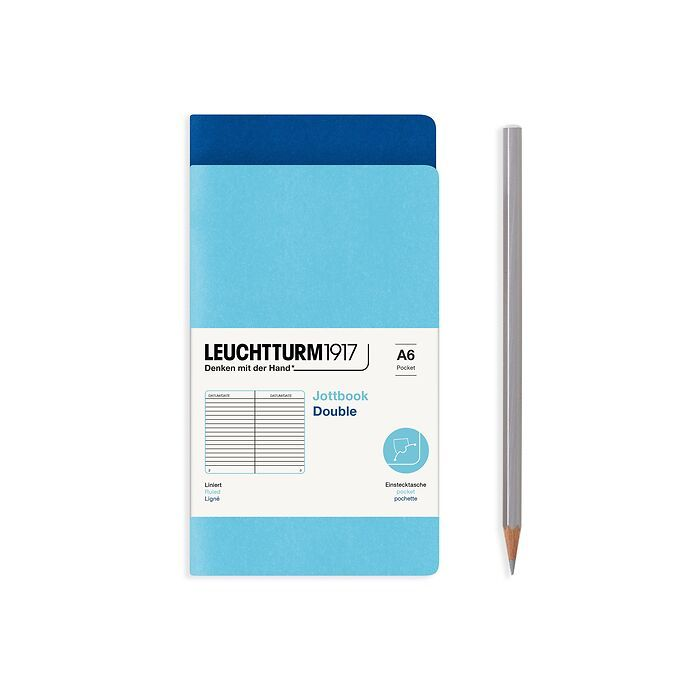 Jottbook (A6), 59 numbered pages, ruled, Royal Blue and Ice Blue, Pack of 2