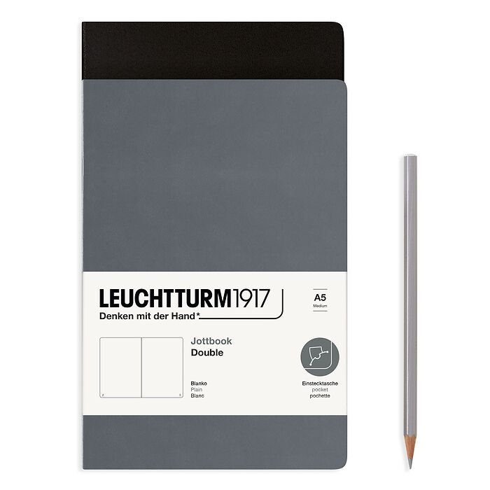 Jottbook (A5), 59 numbered pages, plain, Black and Anthracite, Pack of 2