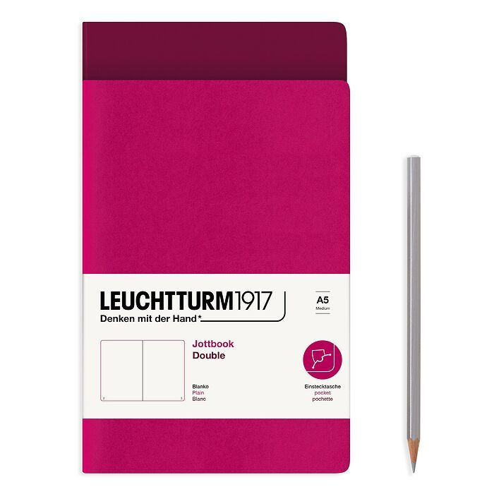 Jottbook (A5), 59 numbered pages, plain, Port Red and Berry, Pack of 2