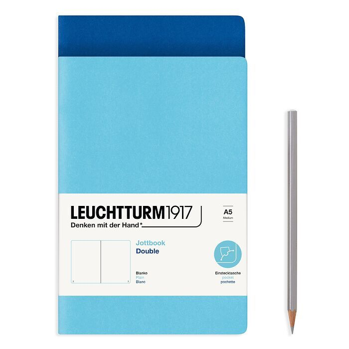 Jottbook (A5), 59 numbered pages, plain, Royal Blue and Ice Blue, Pack of 2
