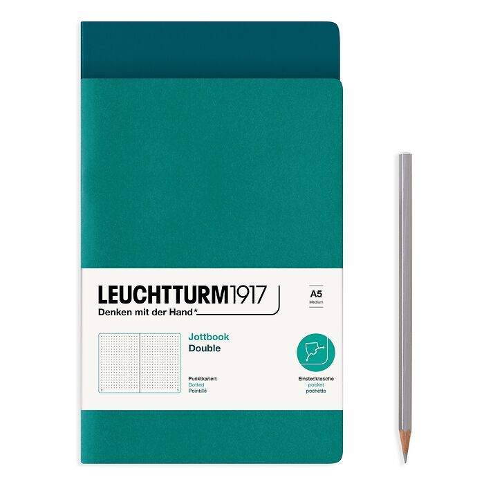 Jottbook (A5), 59 numbered pages, dotted, Pacific Green and Emerald, Pack of 2
