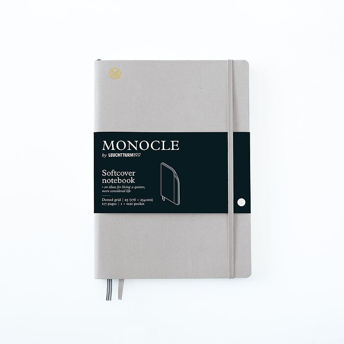 Notebook B5 Monocle, Softcover, 128 numbered pages, Light Grey, dotted