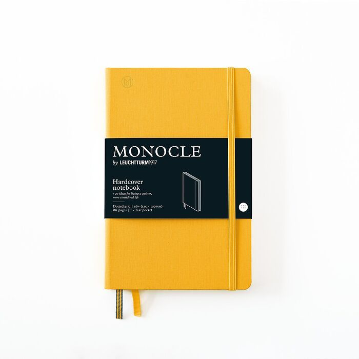 Notebook B6+ Monocle, Hardcover, 192 numbered pages, Yellow, dotted