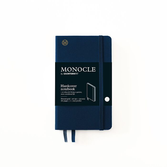 Notebook A6 Monocle, Hardcover, 192 numbered pages, Navy, dotted