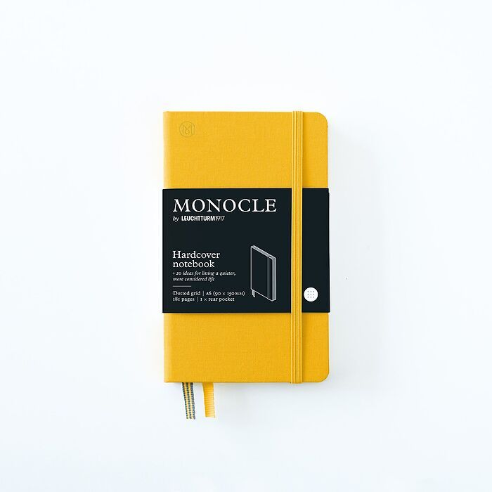 Notebook A6 Monocle, Hardcover, 192 numbered pages, Yellow, dotted