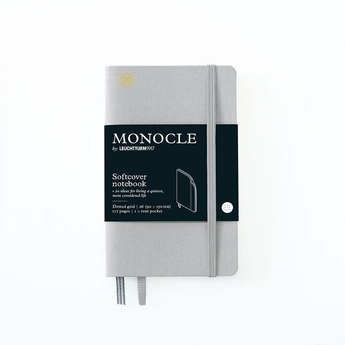 Notebook A6 Monocle, Softcover, 128 numbered pages, Light Grey, dotted