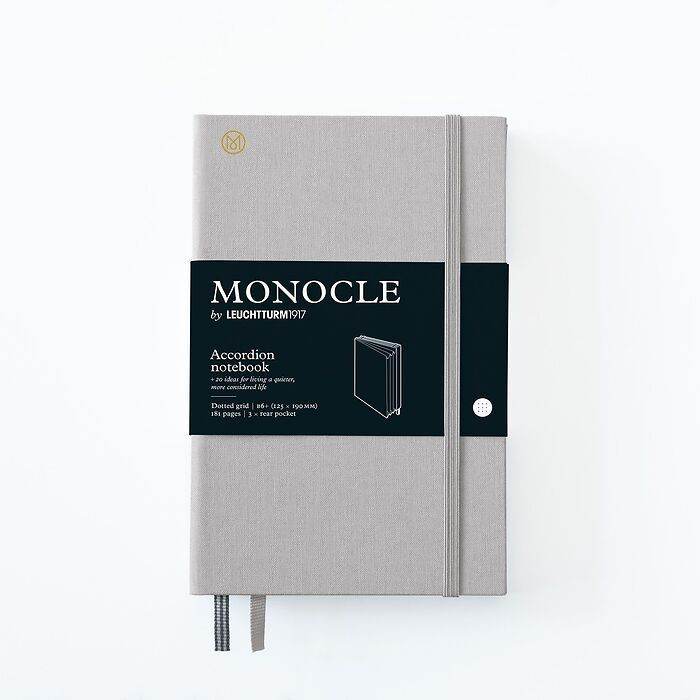 Monocle Wallet B6+, Hardcover, 192 numbered pages, Light Grey, dotted