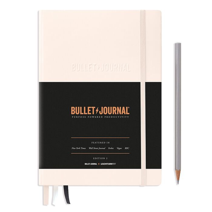 Bullet Journal Edition 2, Medium (A5), Hardcover, 206 numbered pages, Blush, dotted