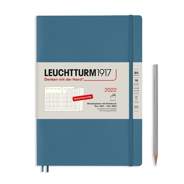 Monthly Planner & Notebook Composition (B5) 2022, 16 Mon., Softcover, Stone Blue, German