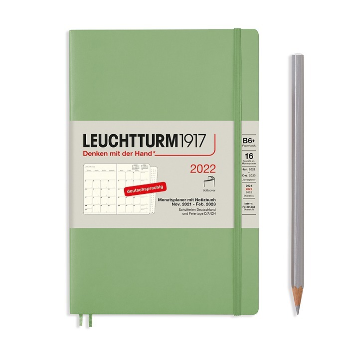 Monthly Planner & Notebook Paperback (B6+) 2022, 16 Months, Softcover, Sage, German