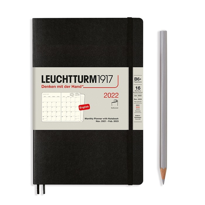 Monthly Planner & Notebook Paperback (B6+) 2022, 16 Months, Softcover, Black, English