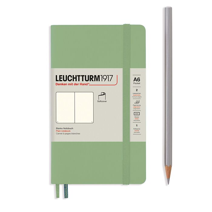 Notebook Pocket (A6), Softcover, 123 numbered pages, Sage, plain