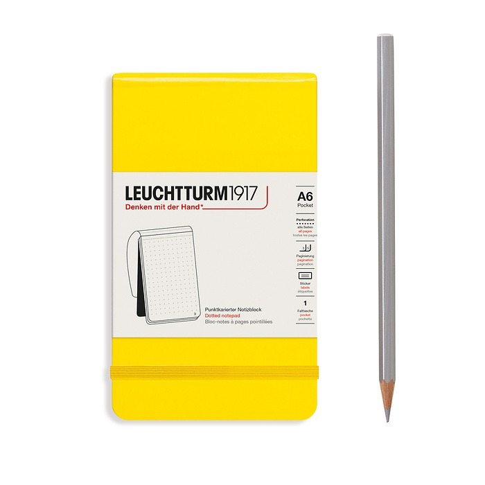 Notepad Pocket (A6), Hardcover, 94 numbered pages, Lemon, dotted