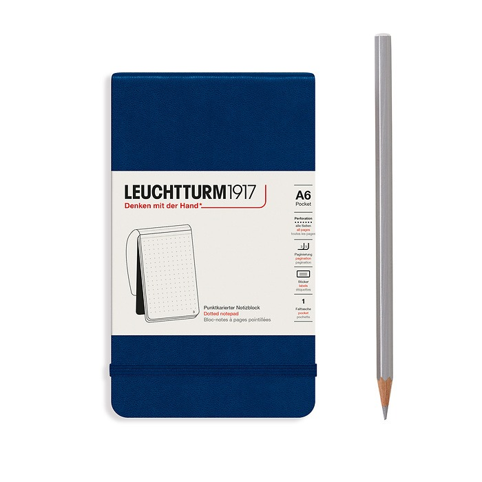 Notepad Pocket (A6), Hardcover, 94 numbered pages, Navy, dotted